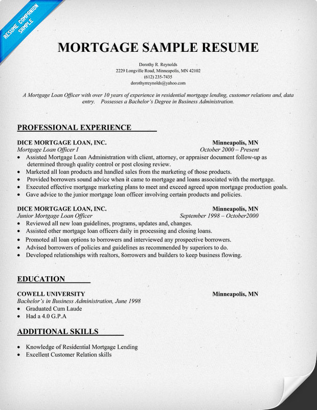 mortgage resume samples real cv examples resume samples visual cv free mortgage loan resume samples
