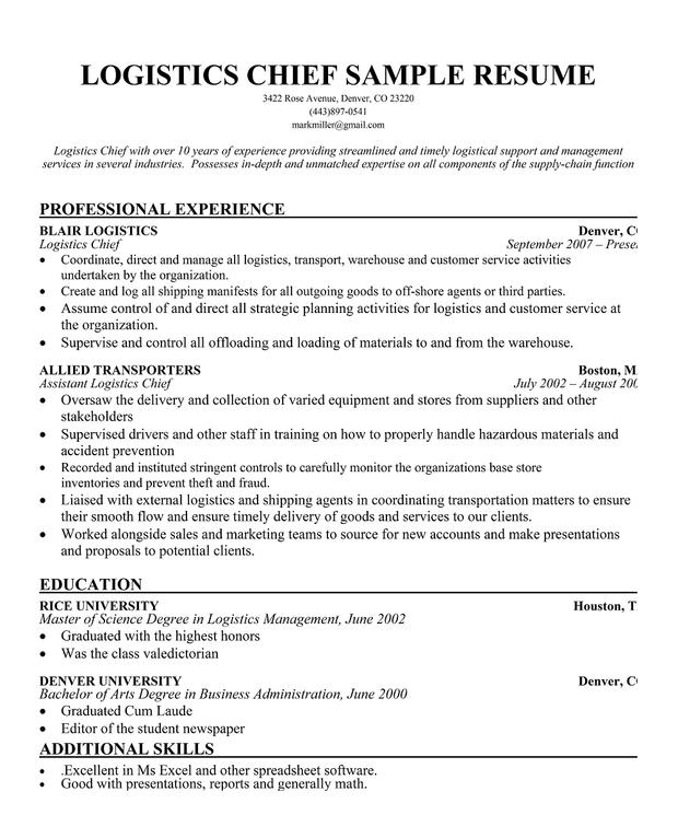 Resume-samples-logistics-resumeslogistics - travelturkey - High - manifest clerk sample resume