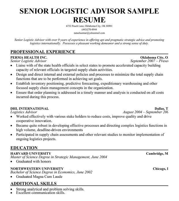 logistic advisor resume - 28 images - senior logistic management