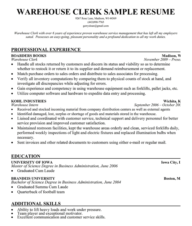 warehouseman resume