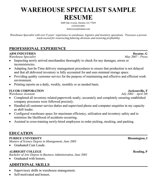 Warehouse Specialist Resume - Gse.Bookbinder.Co