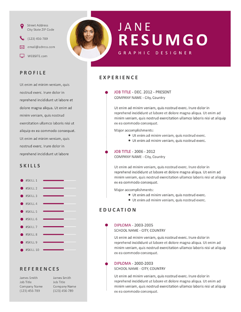 resume template with left sidebar