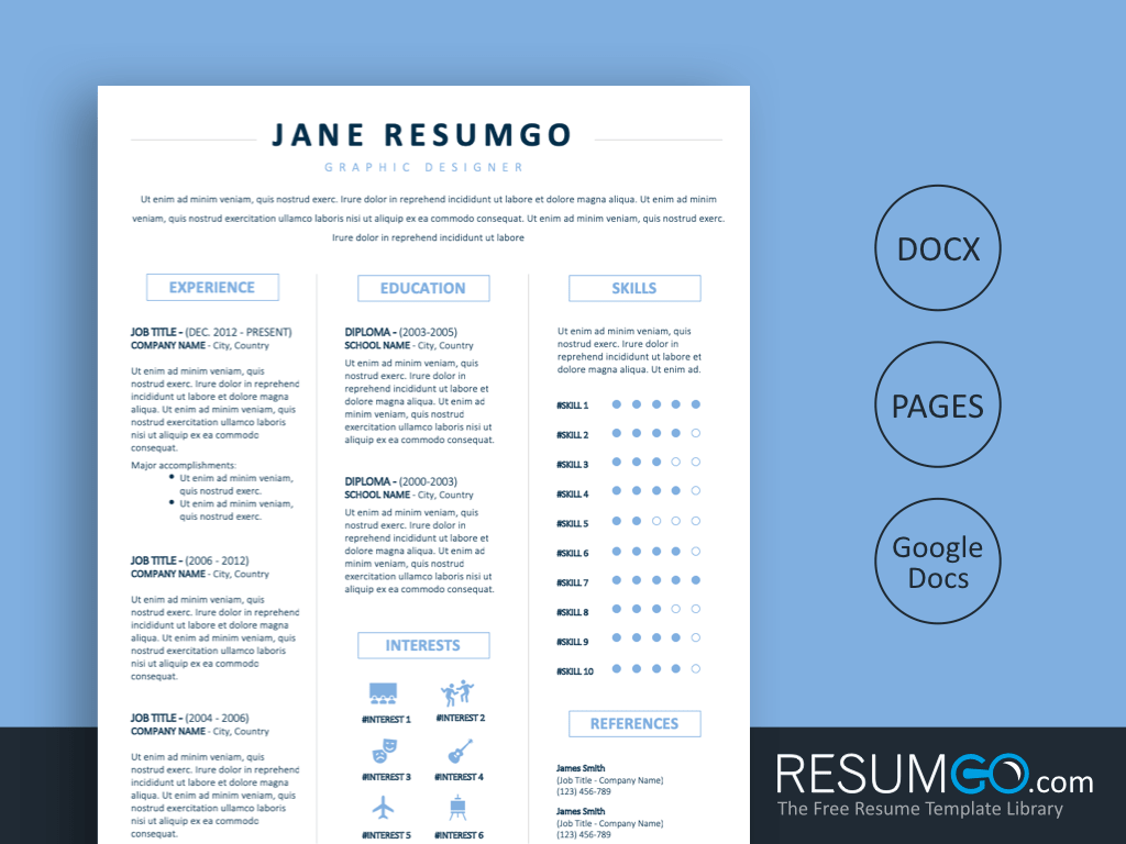 free 3 column resume template word