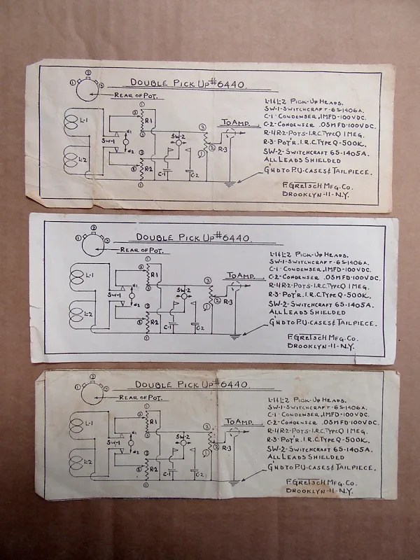 Gretsch Double Pickup Schematic Sheet from Brooklyn 1950- Reverb