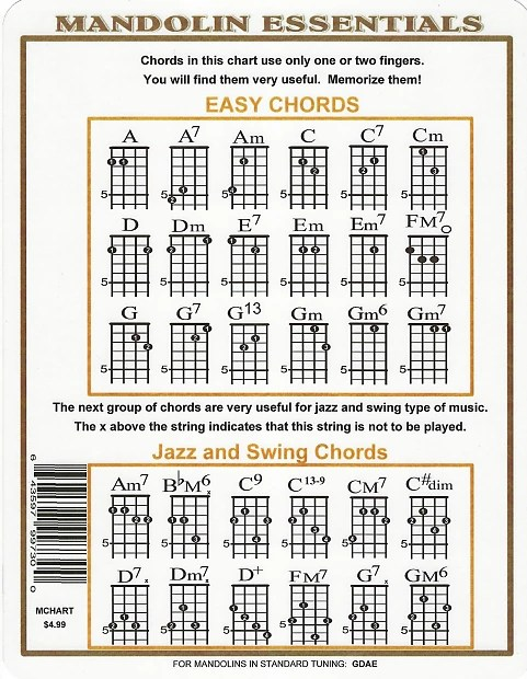 Mandolin Chord Chart for G D A E Music Go Round - St Paul Reverb