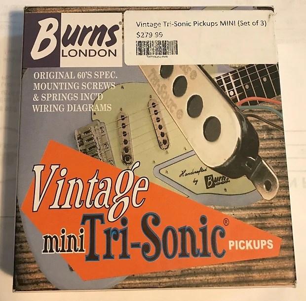 Burns London Vintage Mini Tri-Sonic Strat Pickups Chrome Reverb