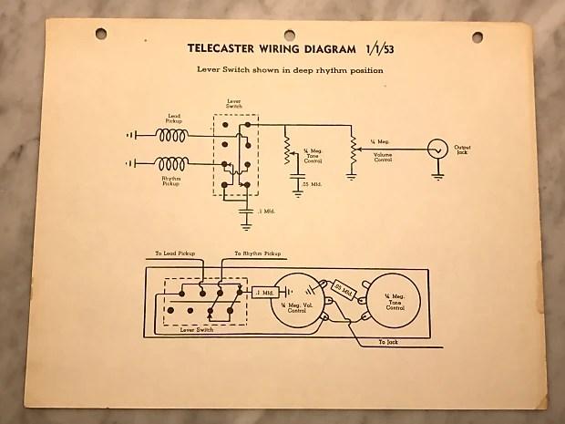 1953 Fender Telecaster Wiring Diagram Reverb