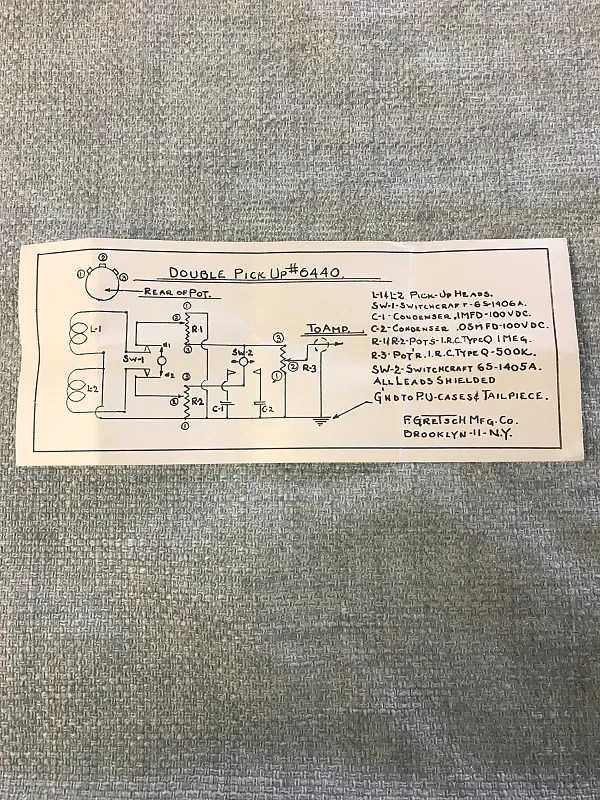 1960\u0027s Gretsch Double Pickup #6440 Wiring Diagram Case Reverb