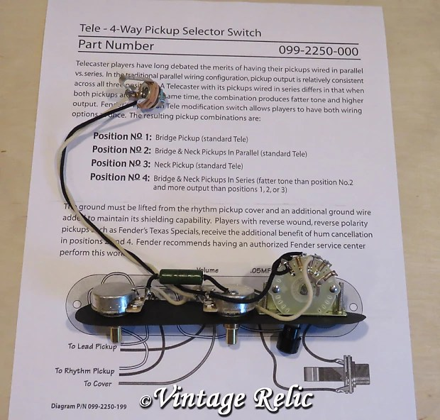 Tele 4 way Upgrade wiring kit Pre-wired PIO cap CTS pots fits Reverb
