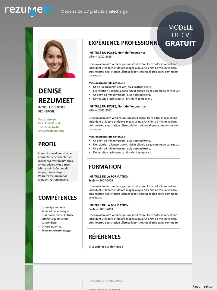 cv avec photo modele gratuit a telecharger