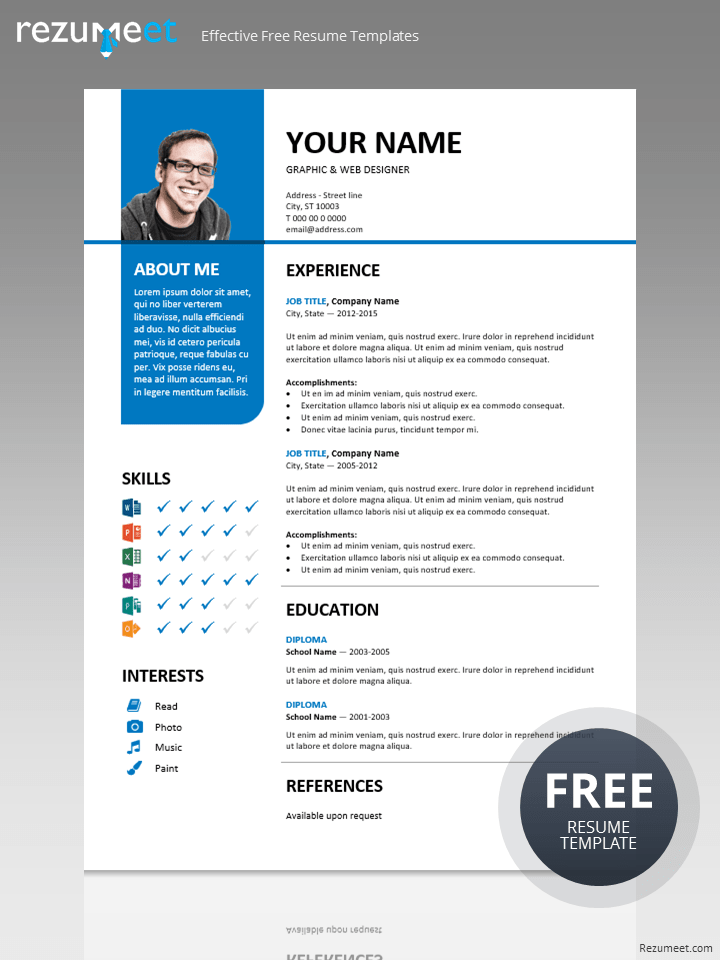 Free Creative Professional Photoshop Cv Template Bayview Stylish Resume Template