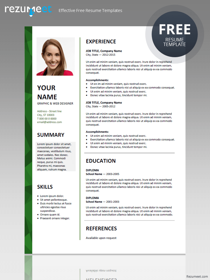 resume template in word 2007 free