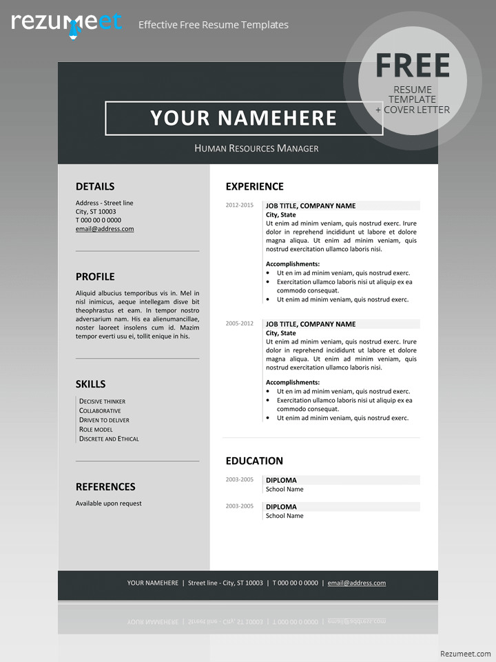 free templates for cv in word