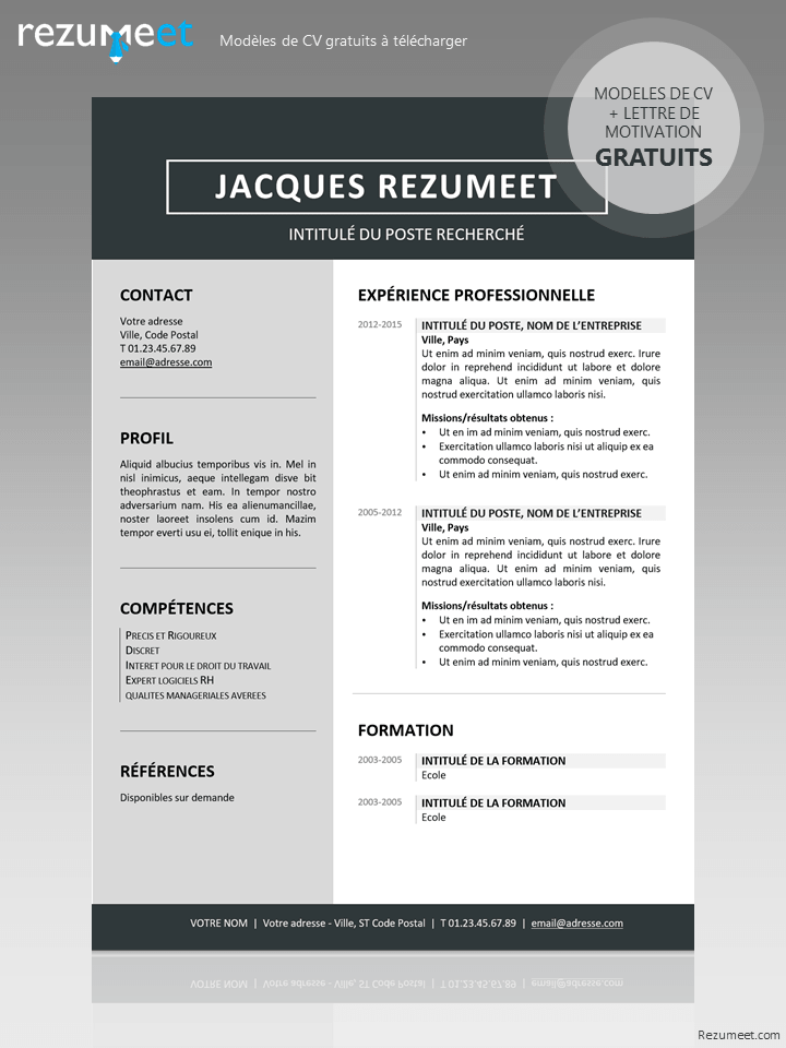 modele cv gratuit word sans photo