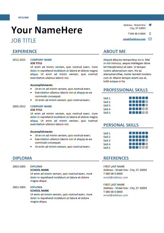 download simple docx resume template