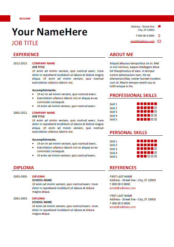 quick professional resume template
