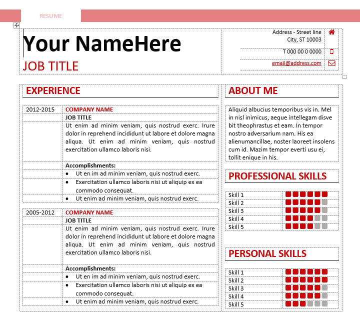 resume templates using word