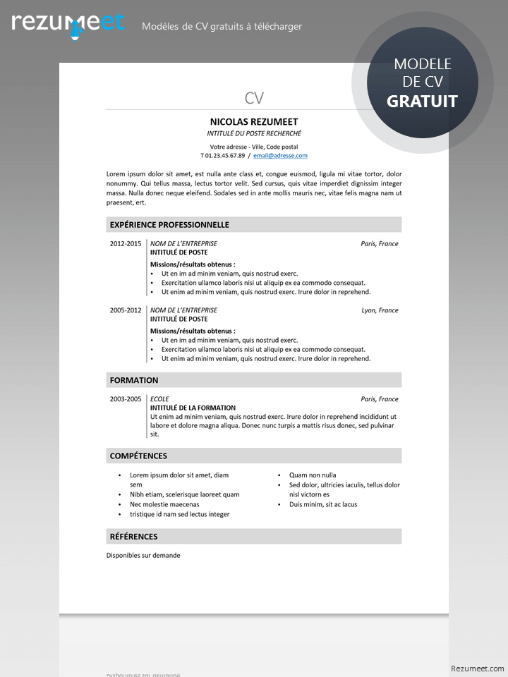 cv avec photo gratuit telecharger
