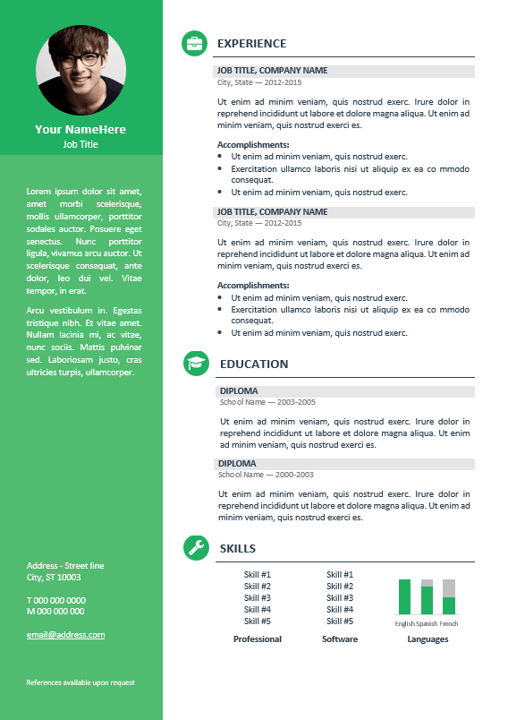 free word resume template 2007