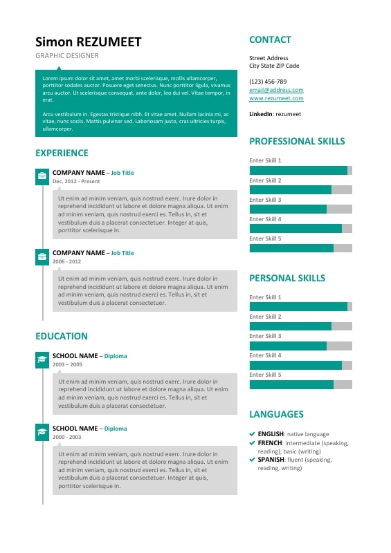 microsoft word resume template skills