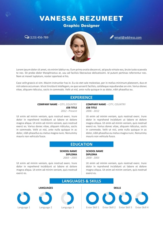 Vesterbro \u2013 Nature Resume Template - Resume With Photo Template