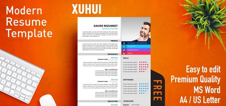 Xuhui - Modern Resume Template - Modern Resume Templates