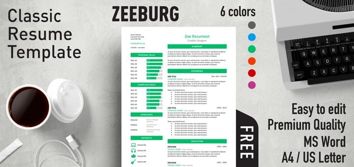 Zeeburg - Classic Resume Template