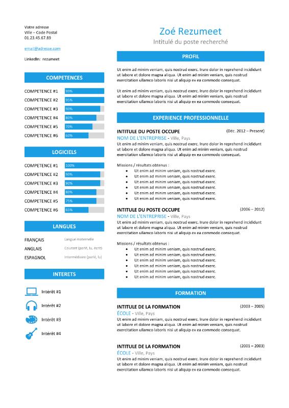 modele de cv plusieurs pages