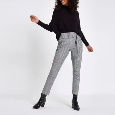 Pantalon Coupe Carotte Femme Black Check Ring Belt Peg Trousers