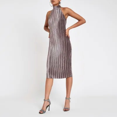 Plissee Halter Silver Plisse Bodycon Halter Neck Dress