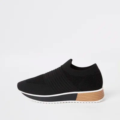 Zwarte Nikes Dames Black Knit Runner Trainers