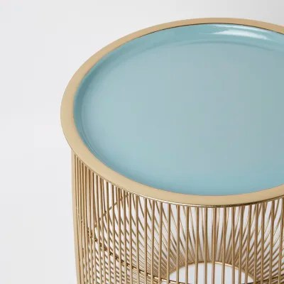Mand Tafel Small Wire Basket Table With Sage Lid