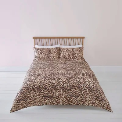 Parure De Lit Marron Brown Leopard Print Super King Duvet Bed Set