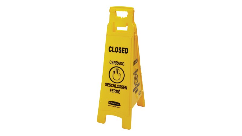 38 In Multilingual Closed Floor Sign 4 Sided Yellow