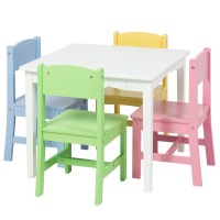 Wooden Kids Table And 4 Chairs Set Furniture Play Area ...