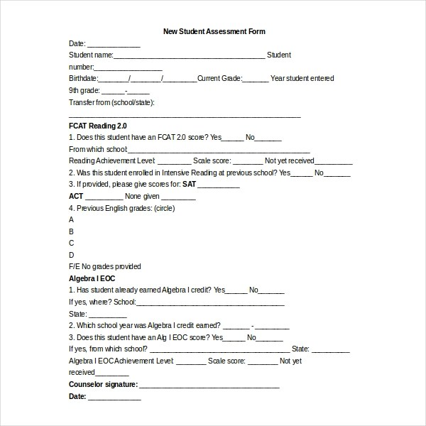Sample Student Assessment Forms - 12+ Free Documents in PDF, Word