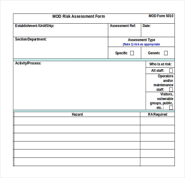 12+ Sample Health Risk Assessment Forms Sample Forms