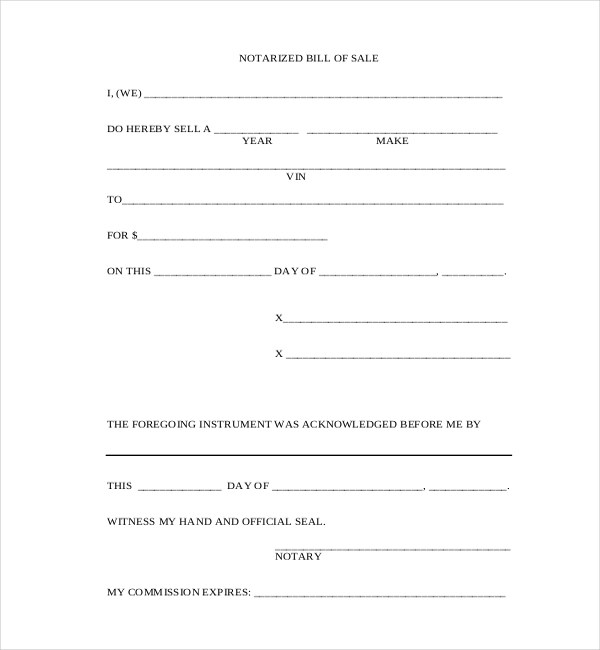 10+ Sample Blank Bill of Sale Forms Sample Forms - bill of sales forms