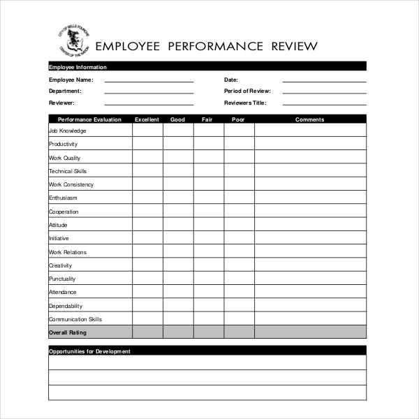 Employee Evaluation Forms Blank Employee Evaluation Forms Free