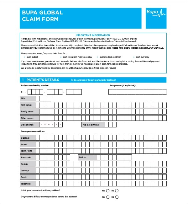10+ Sample Medical Claim Forms Sample Forms