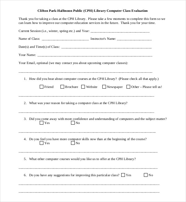 Class Evaluation Template For The Instructor For The Student - sample course evaluation form