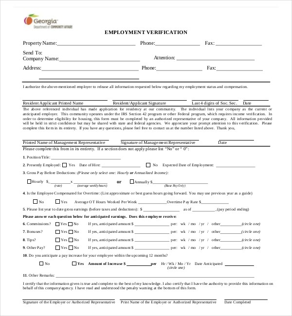 11+ Sample Employment Verification Forms Sample Forms - employment verification forms
