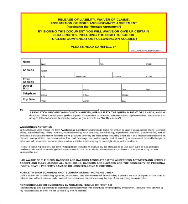 Legal Release Form Template - staruptalent - - legal liability waiver form