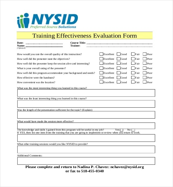 Evaluation Forms For Trainers  NodeCvresumePaasproviderCom