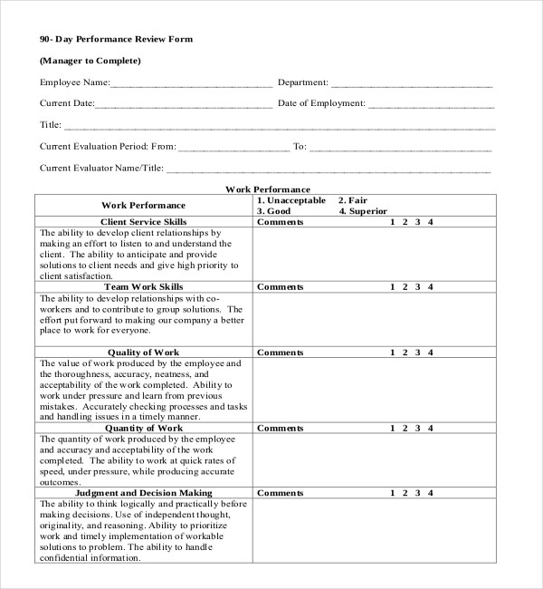 sample employee review - Goalgoodwinmetals - monthly appraisal form