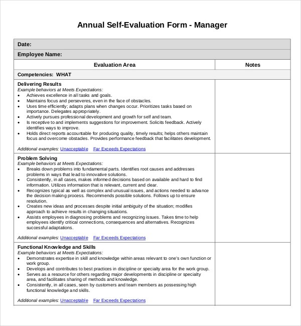 Sample Self Evaluation Forms - 11+ Free Documents in Word, PDF - Self Evaluation
