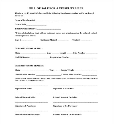Sample Boat Bill of Sale Form - 15+ Free Documents in PDF, Doc
