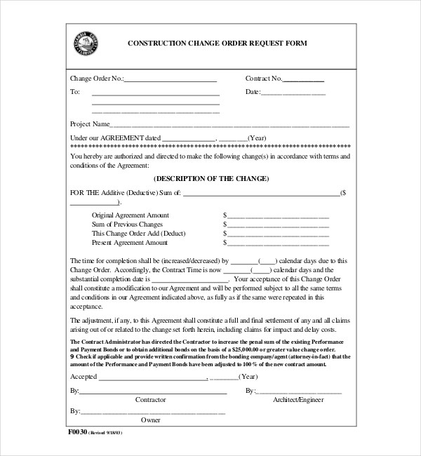 10+ Sample Construction Change Order Forms Sample Forms
