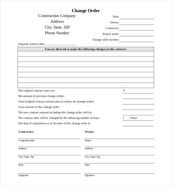 10+ Sample Construction Change Order Forms Sample Forms