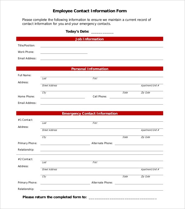 ... Contact Information Form Employee Contact Information Form Sample    Information Form Template Word ...